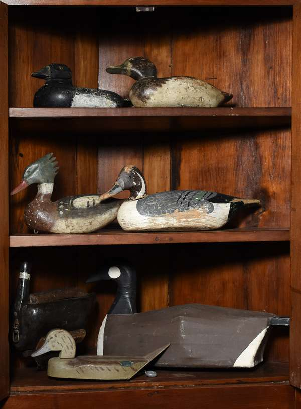 Good collection of seven antique duck decoys including canvas back CA goose, Henry Wulff example along with other stamped and unmarked examples
