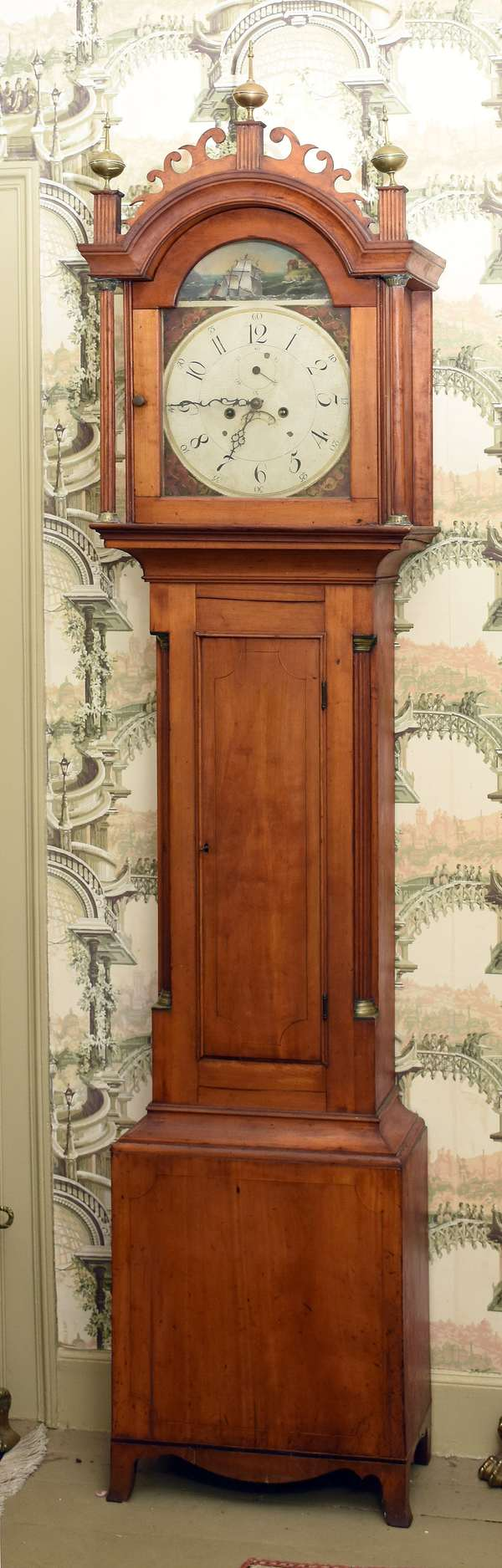 Choice Federal NH inlaid cherry grandfather clock, case in remarkable original condition, rare rocking ship brass and iron works, c. 1810, 89