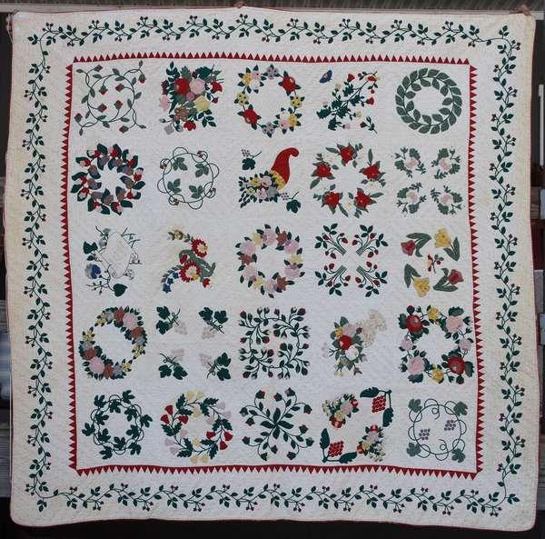 Baltimore trapunto and applique album quilt, vine and floral motifs, 84