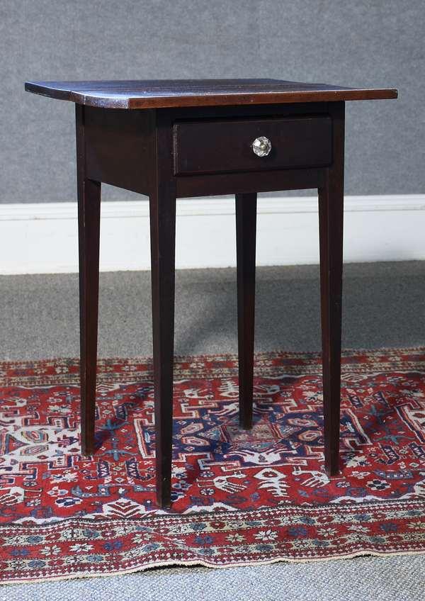 Country Hepplewhite one drawer cherry stand with original crusty finish, ca.1800