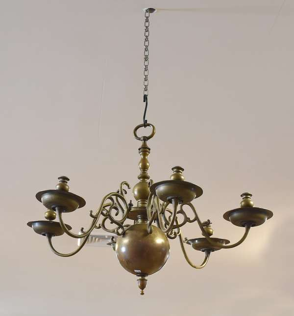 Early Dutch brass chandelier with six branches, bold form