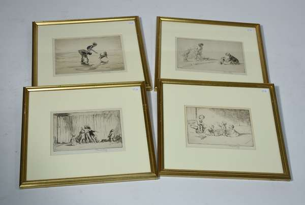 Four pencil signed etchings of children at play, all signed by Eileen Soper, 4.5