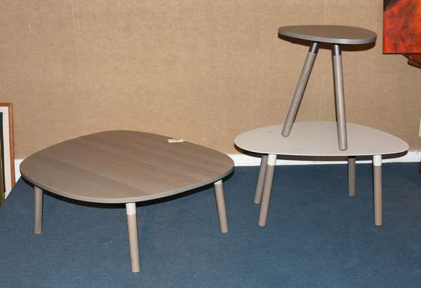 Grouping of three designer occasional tables made by Trica of Canada, three pieces