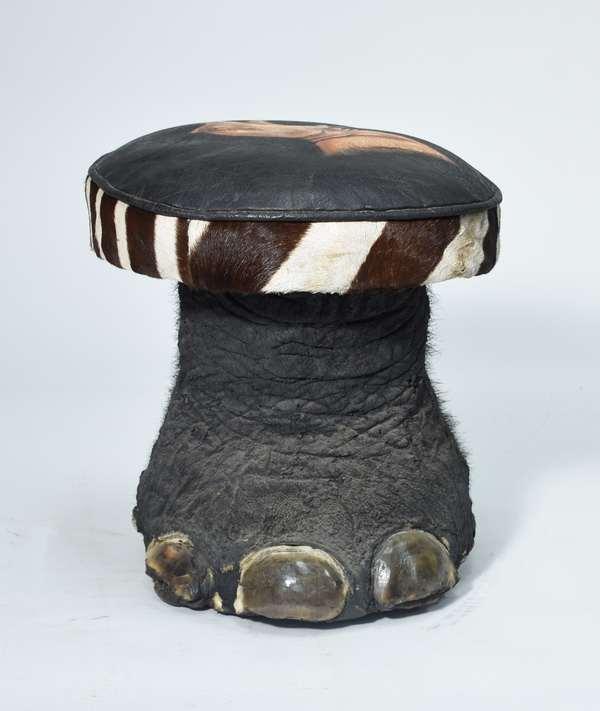 Vintage rhino's foot stool with zebra skin trim, 18