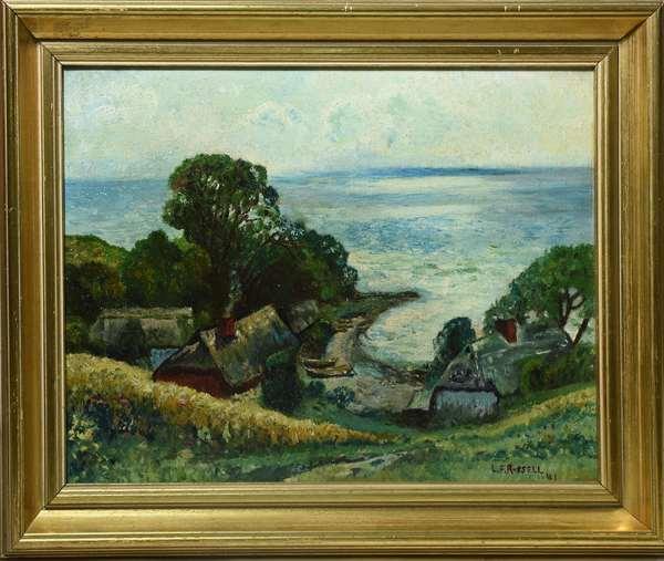 Oil on artist board, coastal village, signed L.F. Russell 41, 12