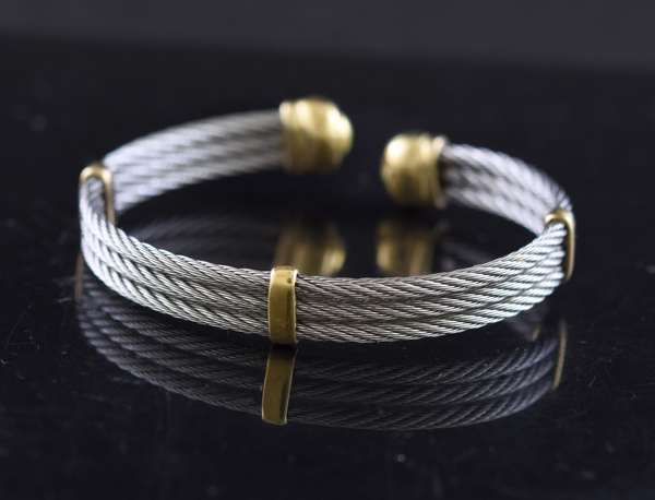Jewelry - Sterling silver & 18k bracelet, cable design, approx. 30 grams