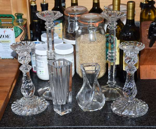 Glass/crystal lot, pair of Baccarat candlesticks, vase along with Orrefors etc., six pieces