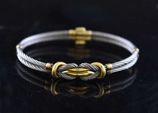 Jewelry - Sterling silver & 18k bracelet, cable design, approx. 22.5 grams