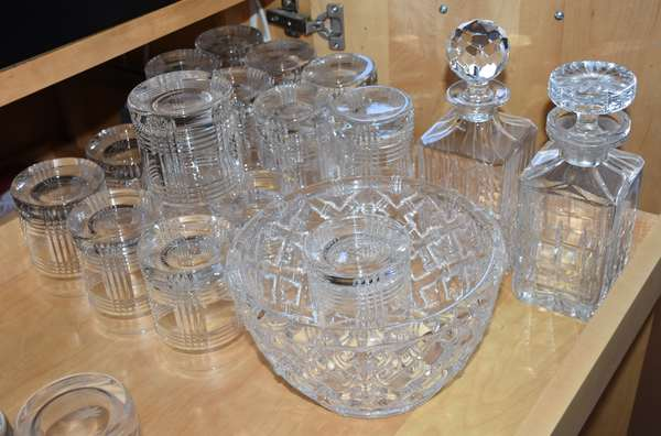 Grouping of 18 pieces of Ralph Lauren and Tiffany glassware, including Tiffany bowl and decanters, Ralph Lauren glasses