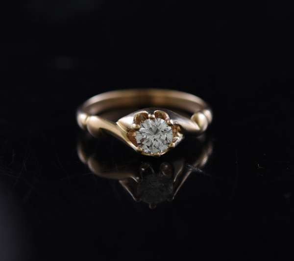 Jewelry - 14k gold ring set with solitaire diamond, approx. .47ct, approx. 2.5 grams