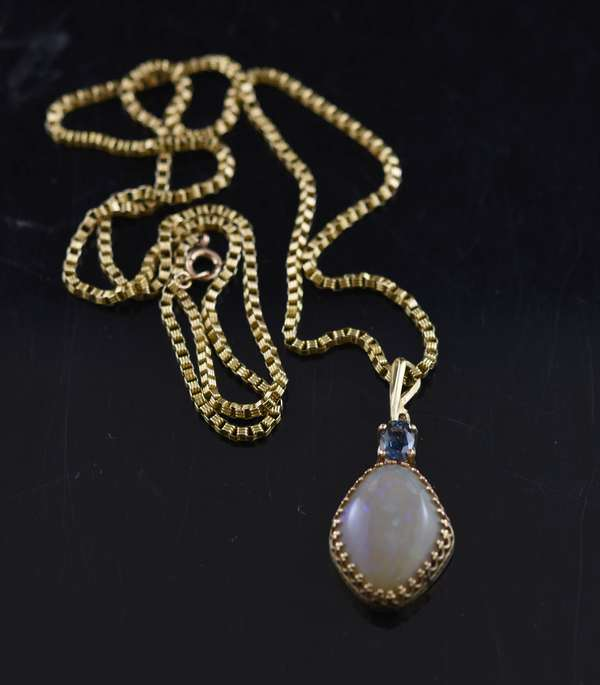 Jewelry - 14k opal and sapphire pendant on gold chain, approx. 11.5 grams, 21