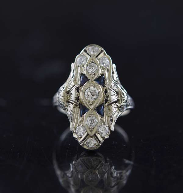 Jewelry - 18k diamond and sapphire filigree ring, approx. 4 grams, size 6.5