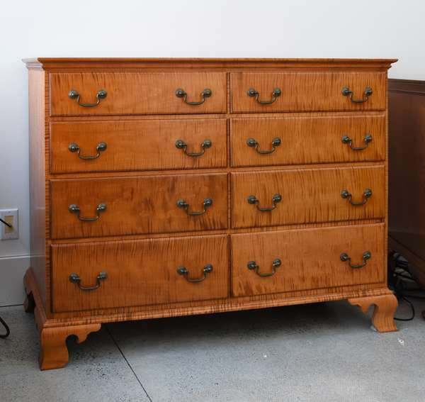 Custom tiger maple double dresser in the Chippendale style, Mark T. Emirzian, Wilbraham, MA. , 46