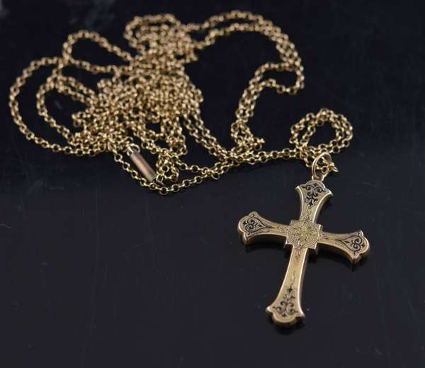 Jewelry - Gold cross with chain, approx. 15 grams