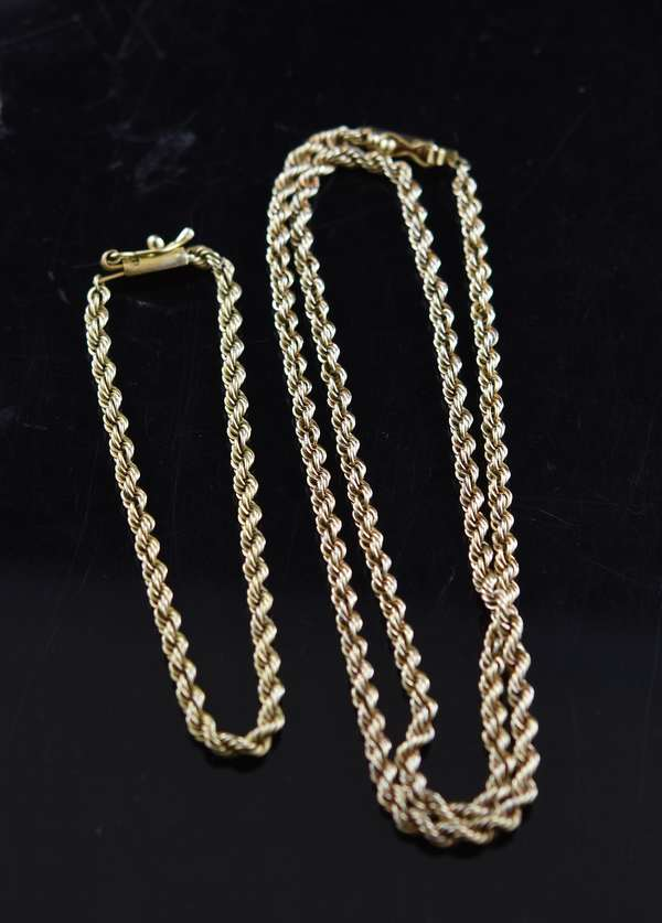 Jewelry - 18k yg rope chain and bracelet, approx. 26.3 grams, 20