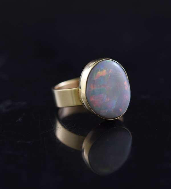 Jewelry - 14k fire opal ring, D.W. marked, approx. 6 grams, size 6