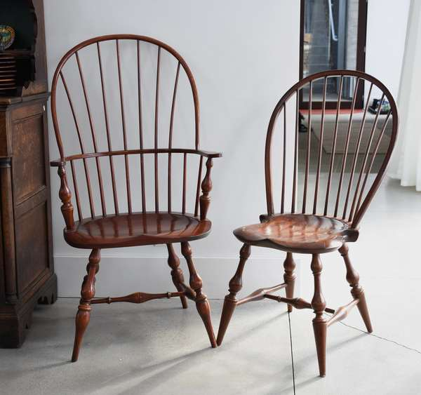 Set of ten D R Dimes Windsor style dining chairs, branded and labeled, two arm, and eight sides