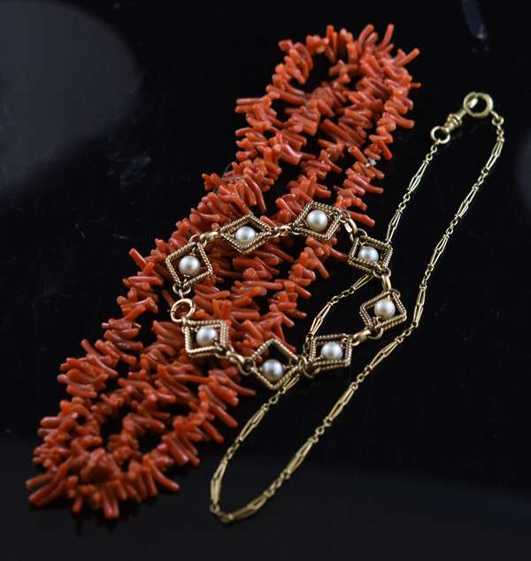 Jewelry - Misc. assorted jewelry including coral necklace, gold filled bracelet and watch chain