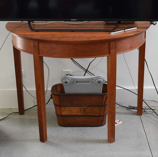 Cherry demi-lune hall table, 44