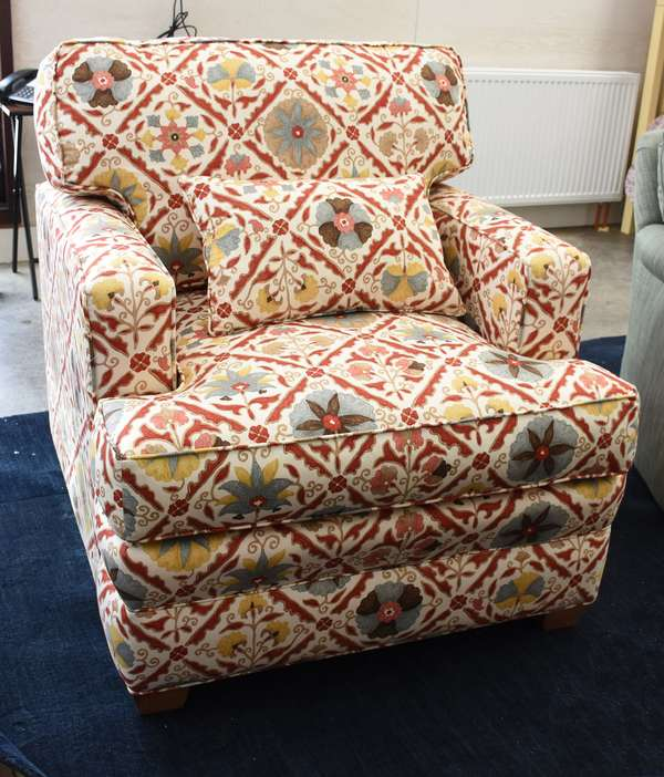 Custom-made club chair, upholstered in expensive custom fabric