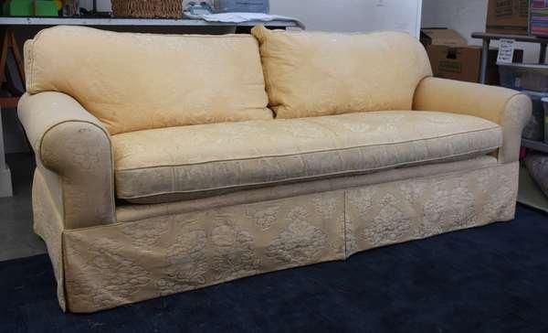 Damask (gold) upholstered custom sofa, slip seat and cushions, 84