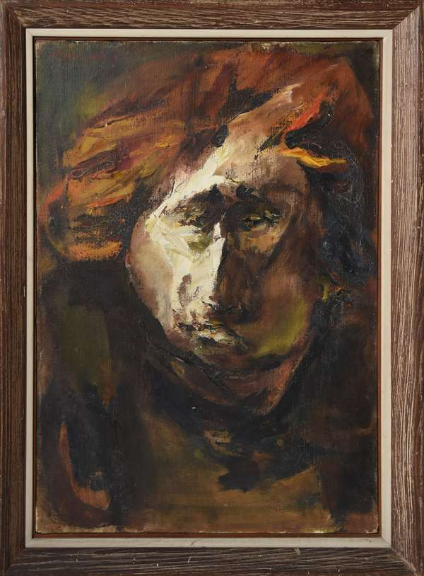Oil on canvas, Jim Morrison? (Doors), signed Alechinski, 28