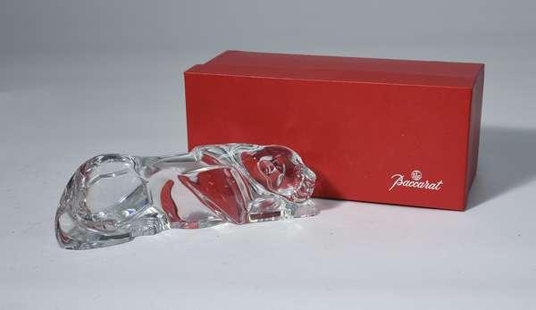 Baccarat crystal jaguar figure in original box, 10