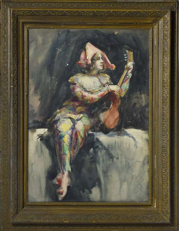 Early 20th C. watercolor, jester in colorful robes with instrument, unsigned, 23