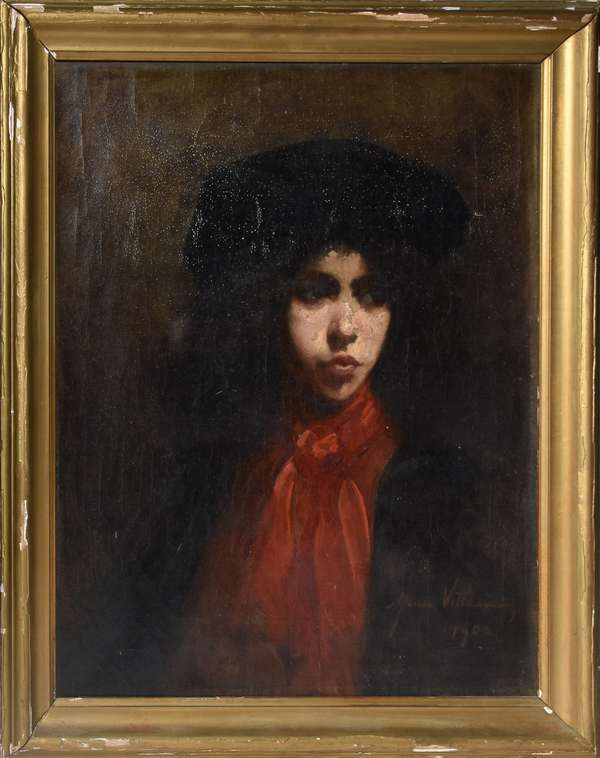 French oil on canvas, young woman in red scarf, signed and dated 1902, 24.5