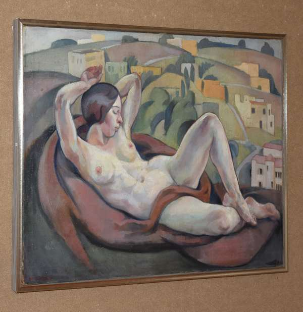 Large oil on canvas, nude posing in landscape, Georges Fustier, dated 1936, 38