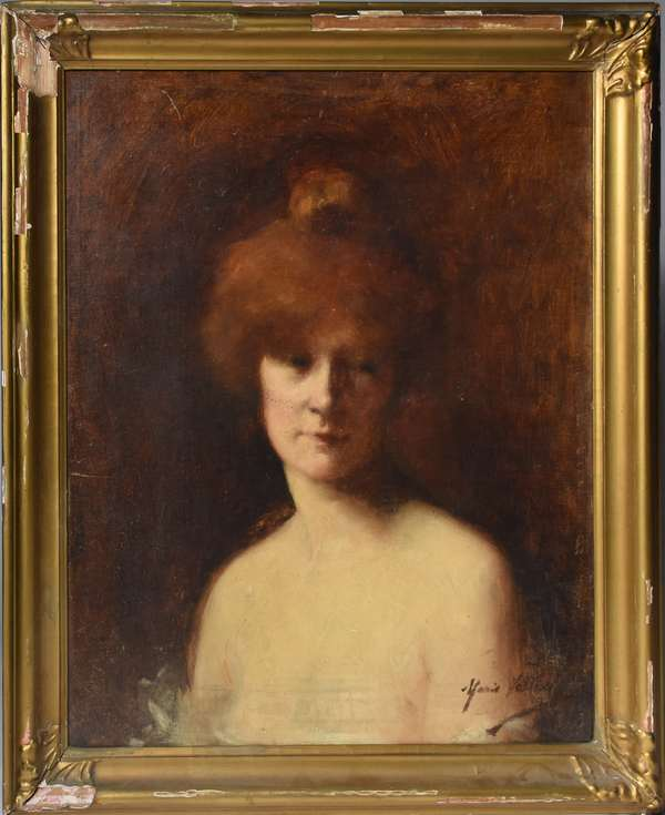 French oil on canvas, portrait of young woman, ca.1900, signed by same artist as lot #42, 19