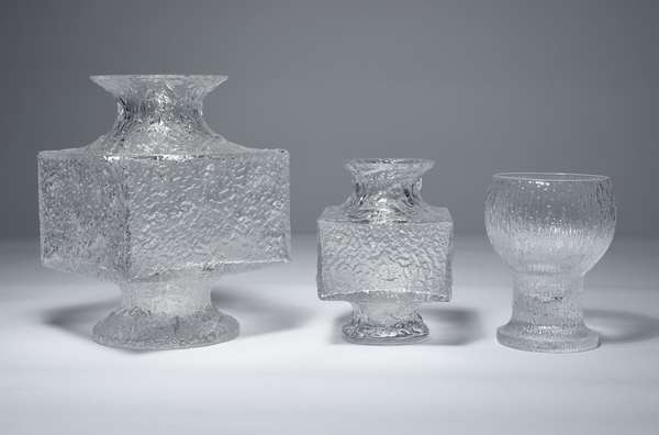Three lovely signed Finnish glass vases by Timo Sarpaneva, 9
