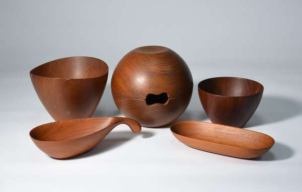 Good lot of signed Danish wood turnings, five pieces