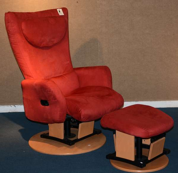 Modern red suede and maple reclining lounge chair and ottoman, made by Dutailier of Canada