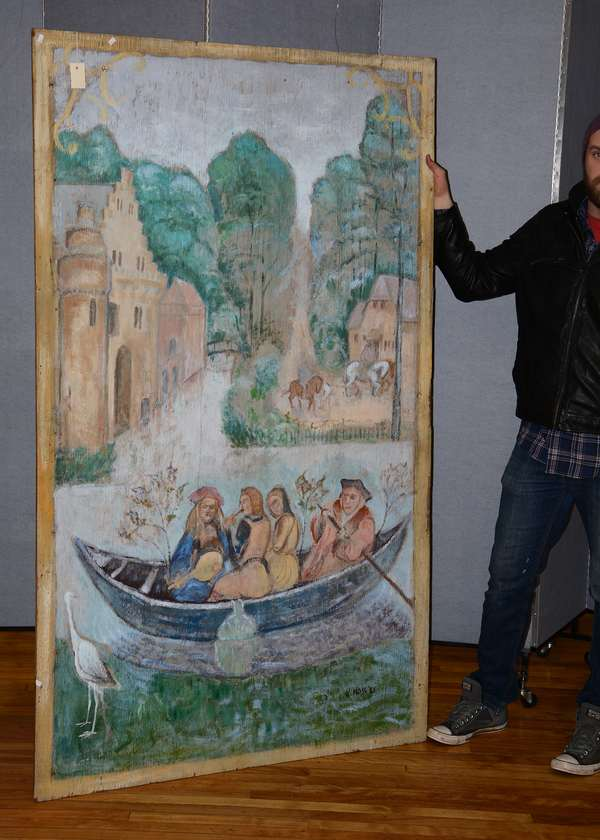 Large 20th C. oil on wood board, figures in row-boat, signed by Kim Moss, 77