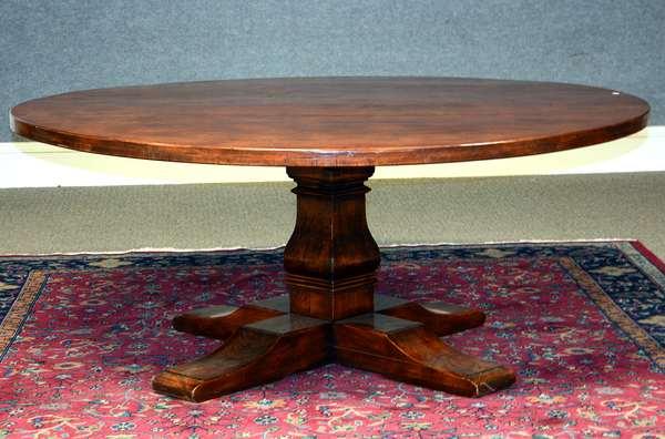 Good custom made circular cherry pedestal base dining table, 72