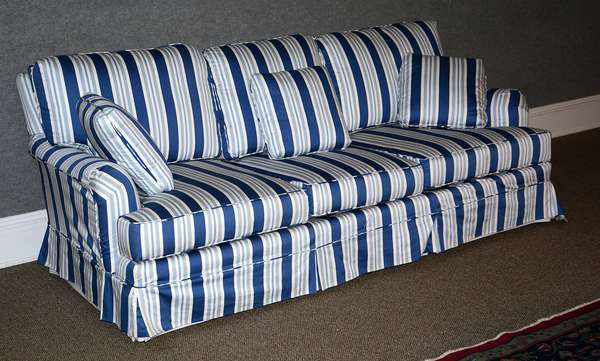 Good upholstered sofa with custom blue & white pin-stripped upholstery, Brown Bros. of Fairfield, CT