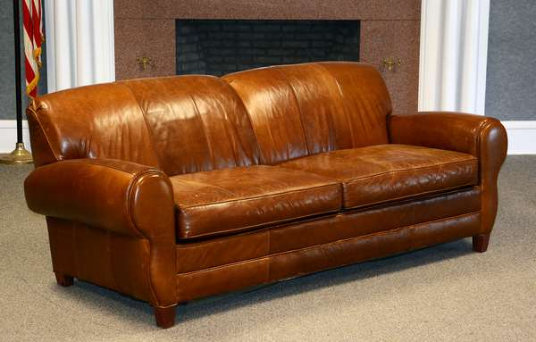 Lake Umbagog upholstery collection Deco style leather sofa, Clear Lake furniture, VT, 84