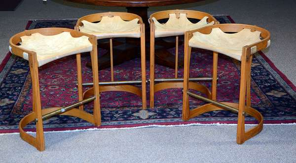 Set of four vintage bent wood and leather bar stools
