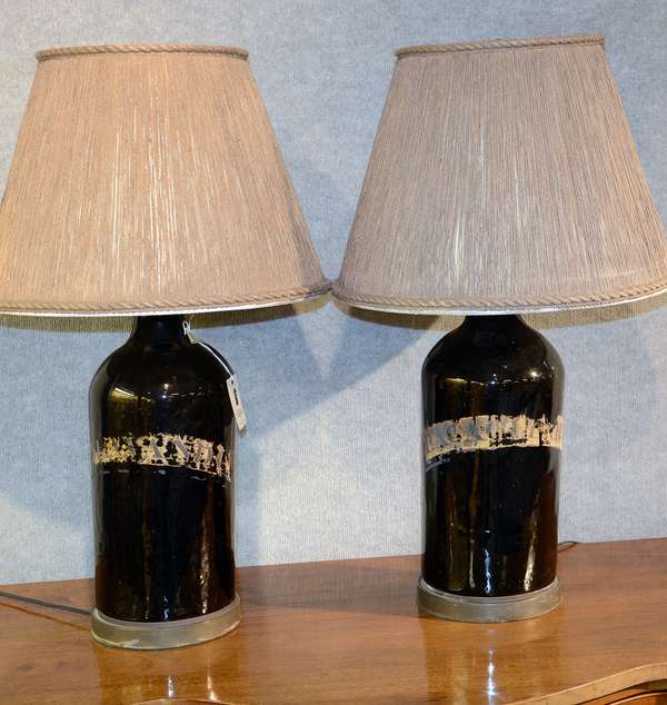 Nice pair of antique demi-john bottles converted into lamps