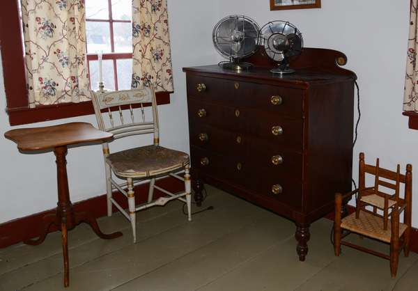 *Items to be sold separately* 3rd floor bedroom Page house and 18th C. maple serpentine top candlestand (96-1)   Sheraton four drawer chest, found by John Page - old Haverhill family (96-2)   Large four blade fan - working (96-3)   Small three blade fan - working (96-4)   Sheraton gilt and white painted fancy chair (96-5)