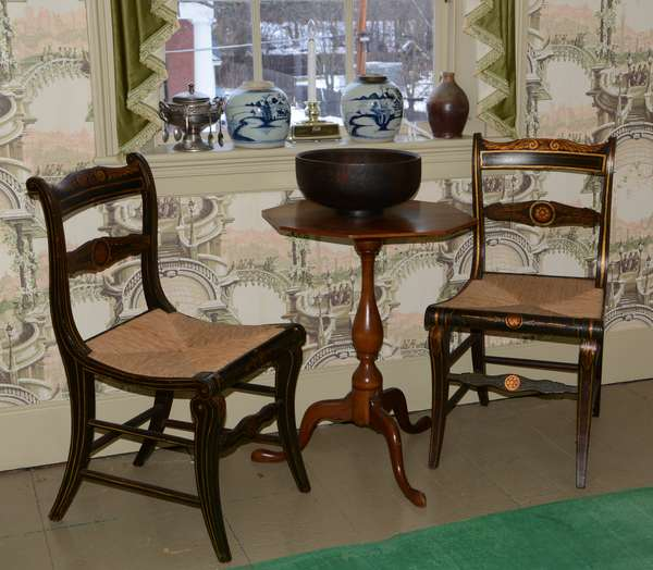 *Items to be sold separately* Pair of gilt and painted classical sabre leg chairs (96-6)  Octagonal top Queen Anne cherry candlestand ca.1800 (96-7)  Antique treenware bowl with decoration (96-8)  Two Chinese canton jars (19th C.) (96-9)