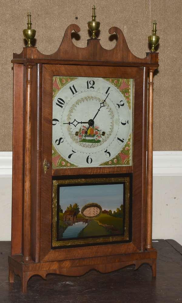 Norris North pillar and scroll clock  (105-3)