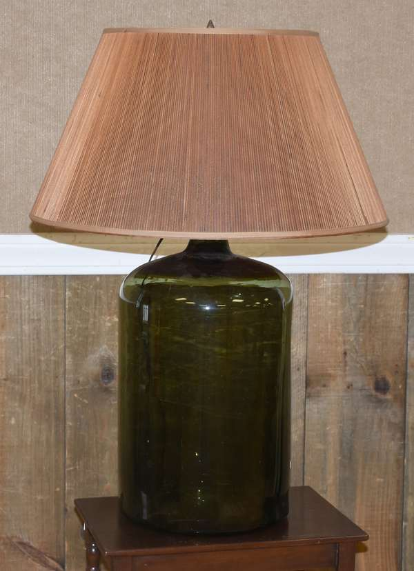 Large demi-John bottle converted to lamp with shade (413-3)