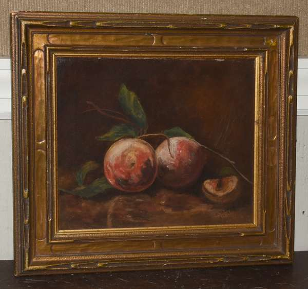 Oil on canvas, still life with peaches, signed E. Thomas, Feb. 1911, 10