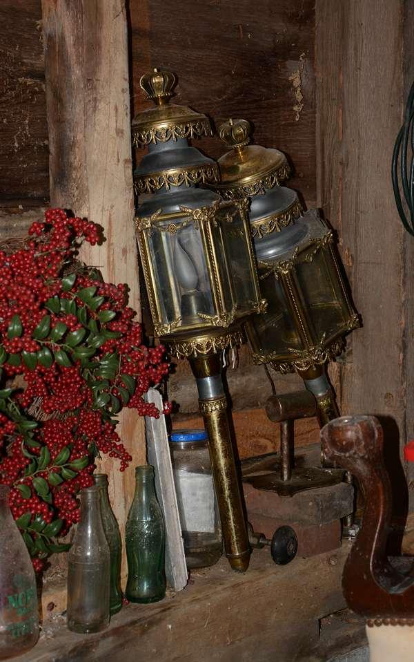 Pair of antique coach lanterns  (96-15)