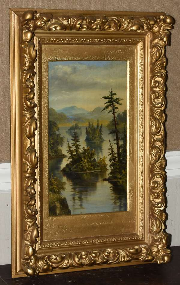 Primitive painting of lake scene in the White Mountaisn, oil on board, 17