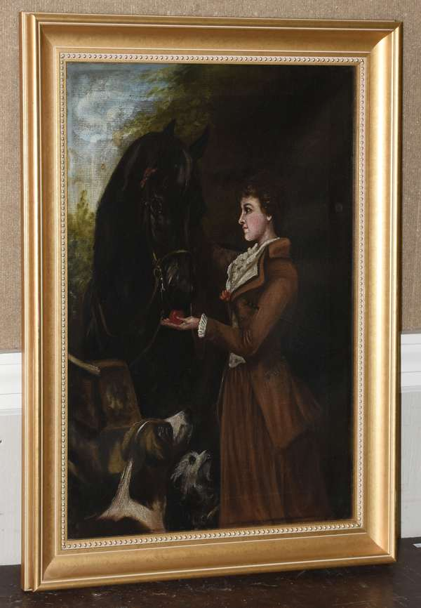 Oil on canvas, lined, girl and horse, unsigned, 24
