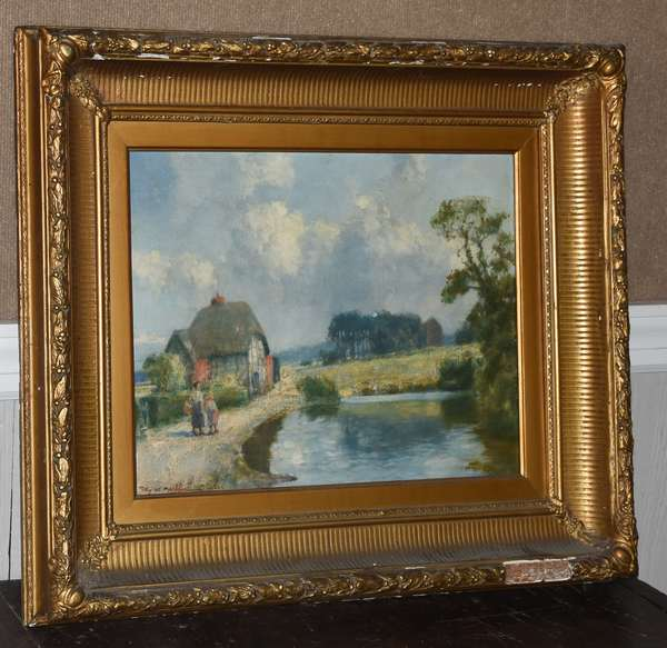 Oil on board, countryside, signed T. Eyre Macklin 1924, 15