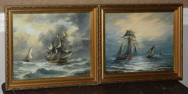 Pair of small ship paintings behind glass signed Max Parsons, 11